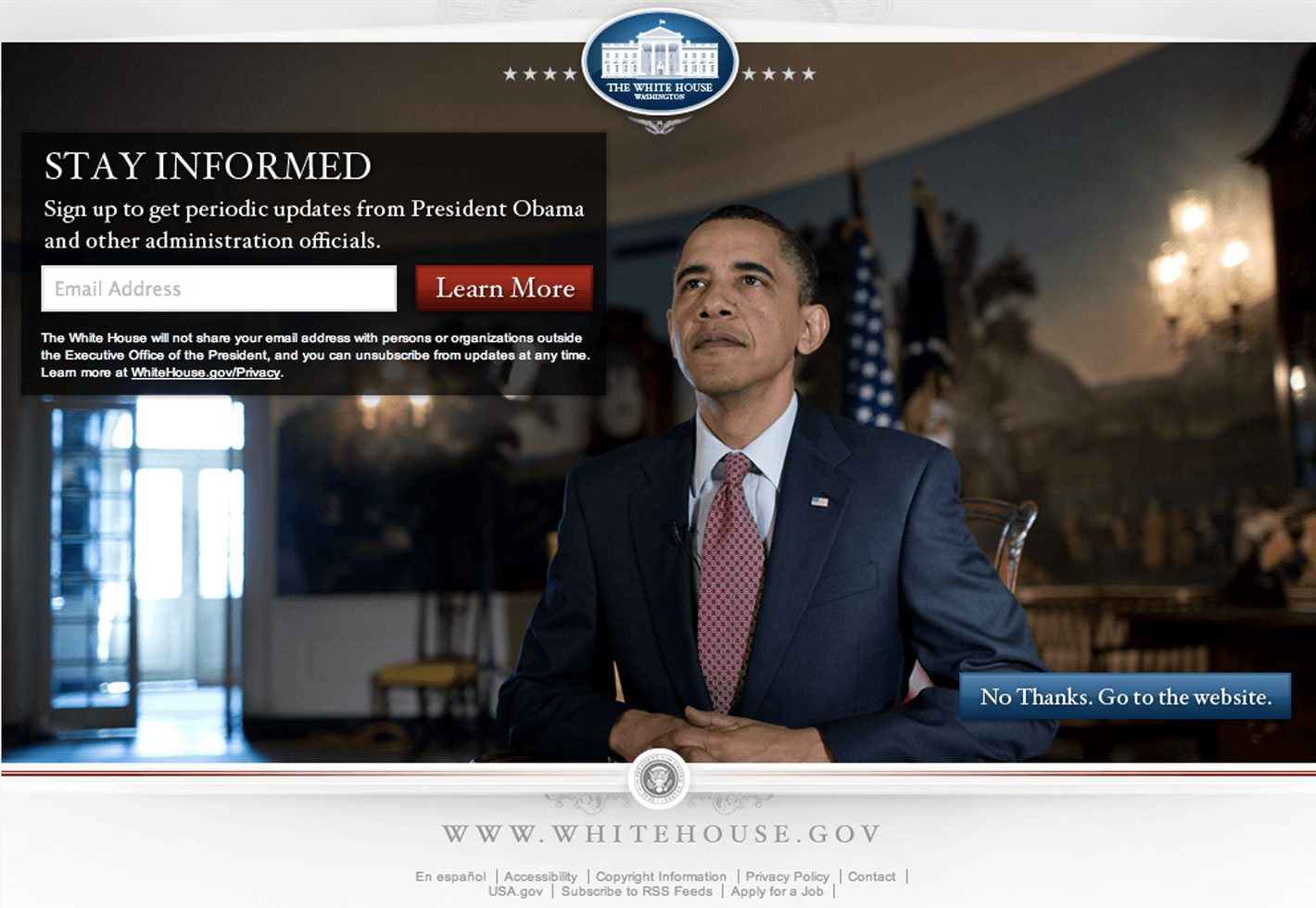 Website White House mit Newsletter Formular