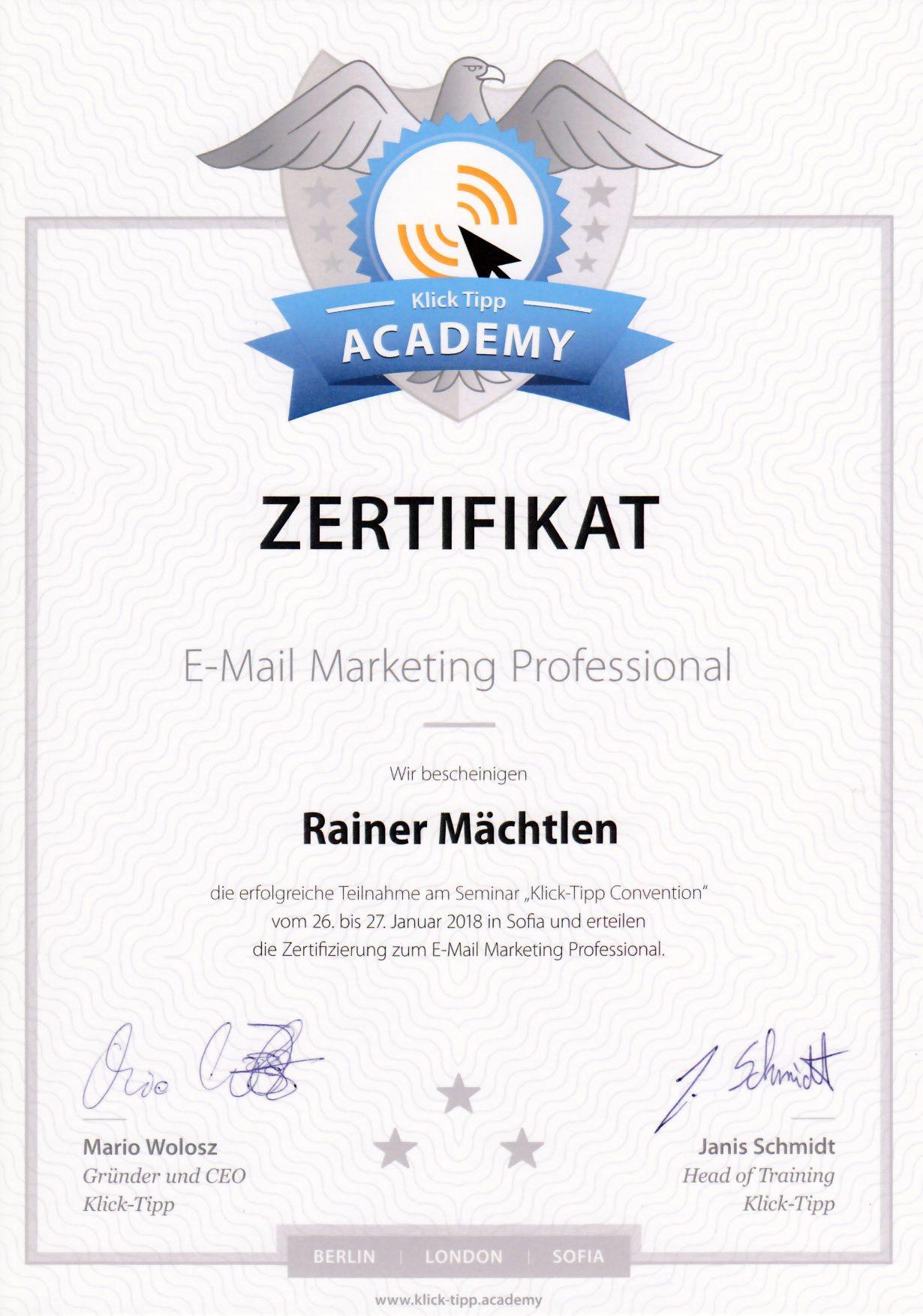 Klick Tipp Zertifikat E-Mail Marketing Professional