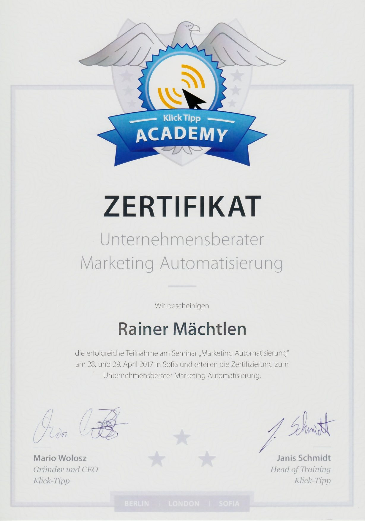 Klick Tipp Zertifikat Unternehmensberater Marketing Automation