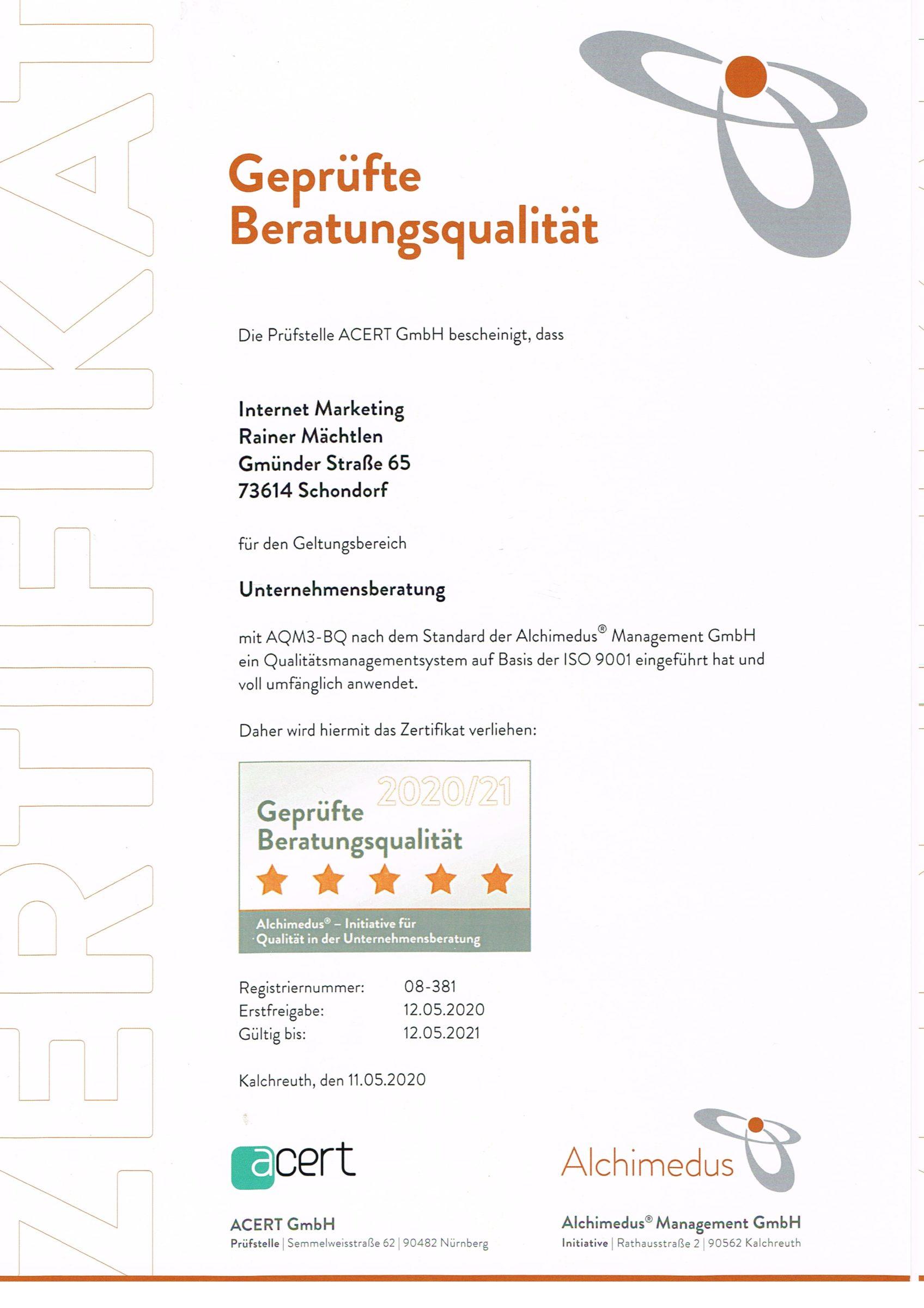 """Zertifikat der Prüfstelle ACERT GmbH über """"Geprüfte Beratungsqualität"""""""